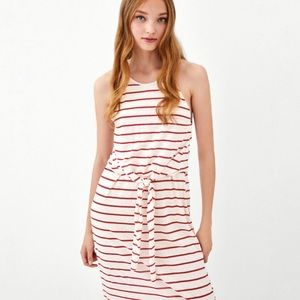 Zara Striped Midi Dress with Tie Detail